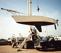 Boat on the hoist